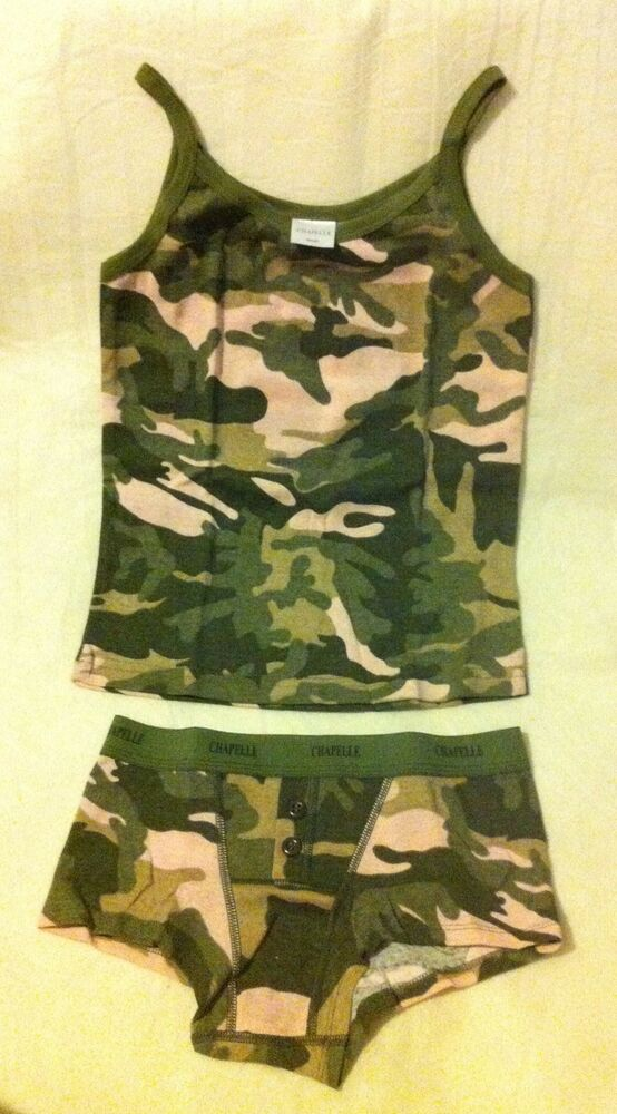 Chapelle Green Amp Pink Camo Short Amp Camisole Tank Top Set