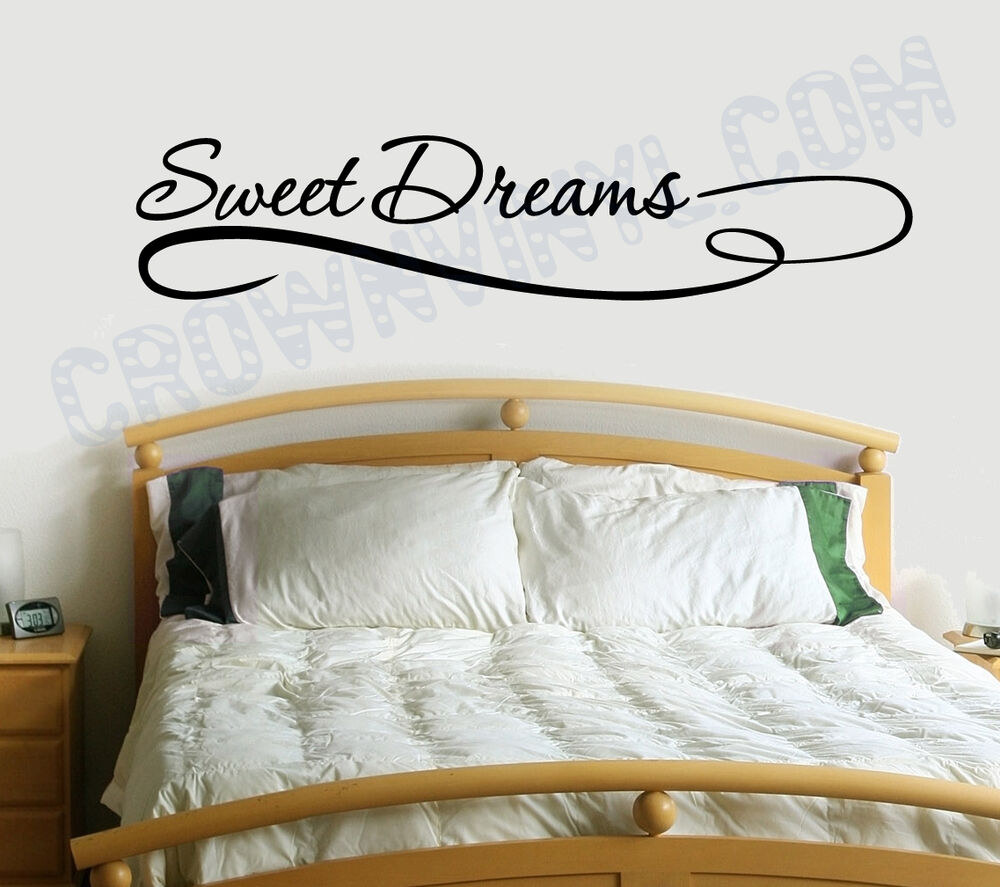 sweet dreams inspirational quote removable vinyl wall art quotes decal sticker ebay. Black Bedroom Furniture Sets. Home Design Ideas