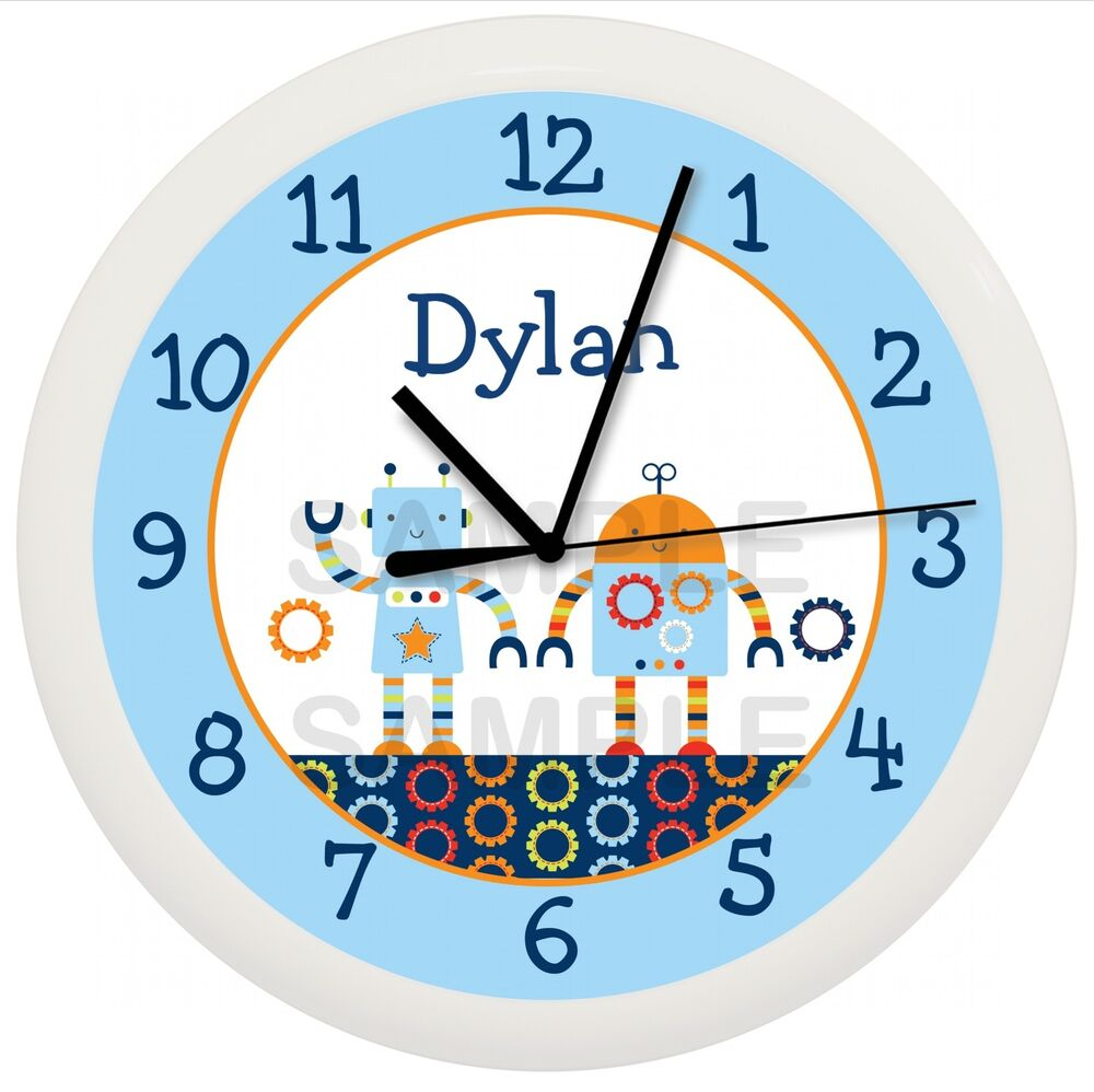 Baby Bots Robot Wall Clock Nursery Bedding Personalized