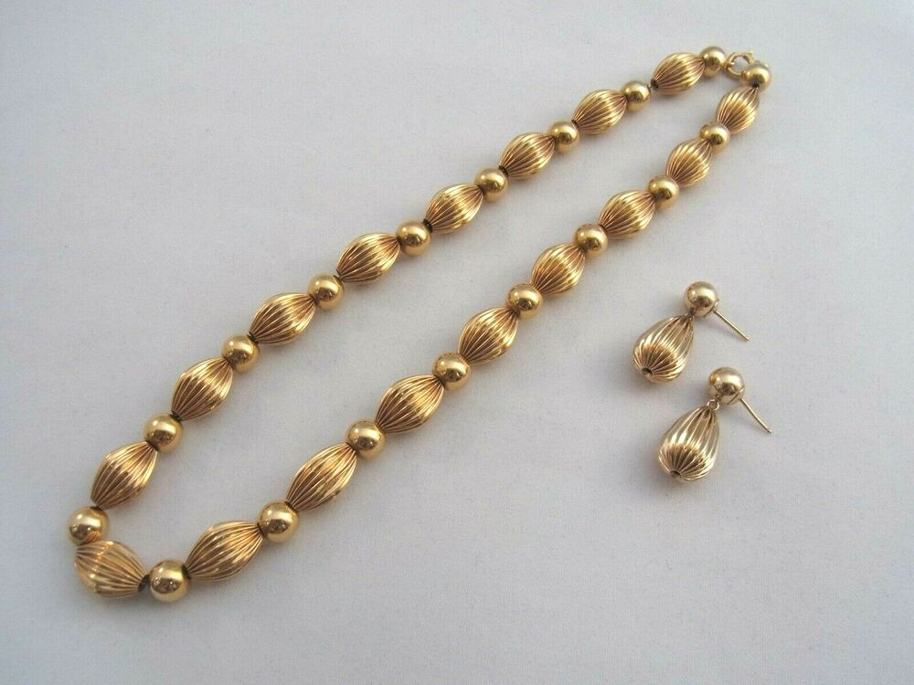 14k Gold Necklace And Earring Set Bead Textured Tubes Ebay