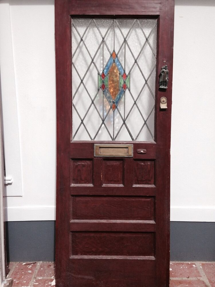 1930s front door art deco stained glass old timber wooden for Old glass doors