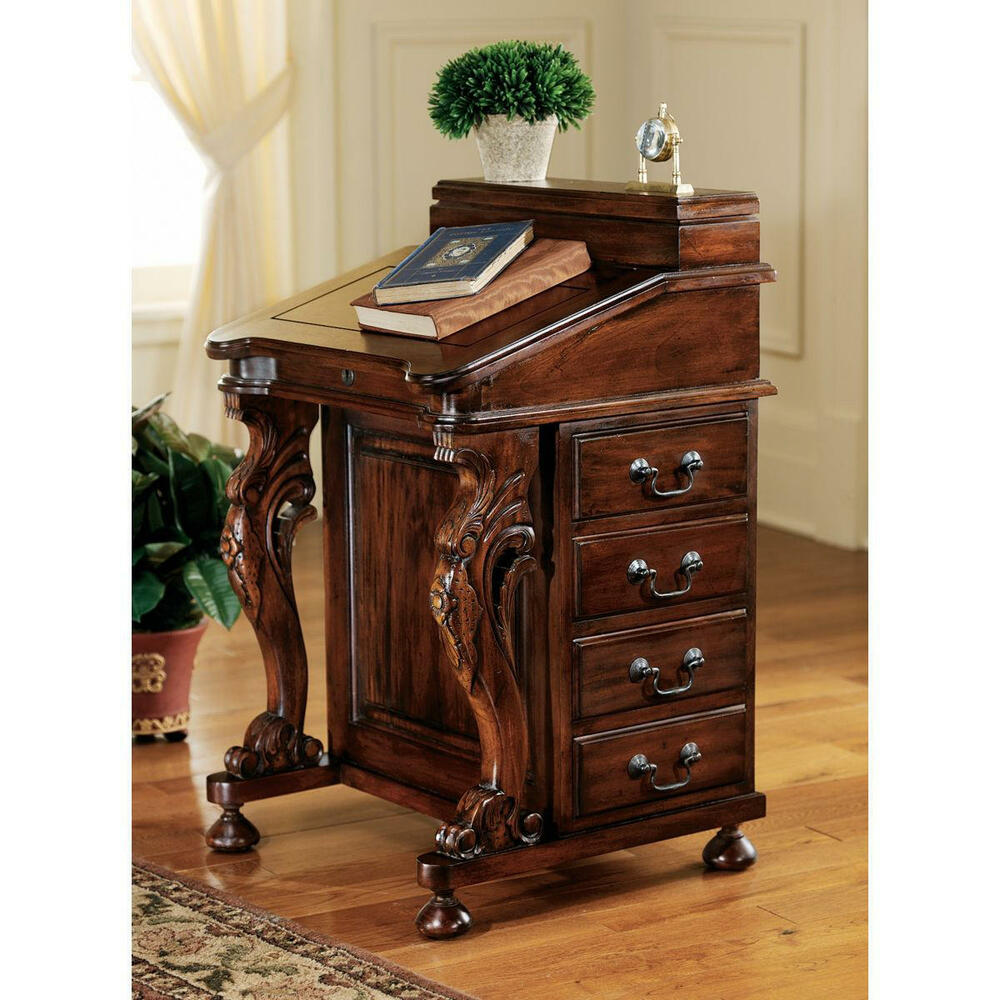 19th Century Hand Carved Solid Mahogany Antique Replica