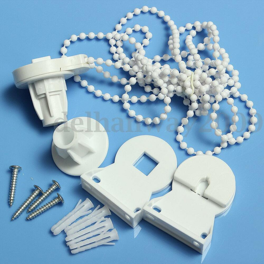 white roller blind shade cluth bracket bead chain 25mm repair parts kit set ebay. Black Bedroom Furniture Sets. Home Design Ideas
