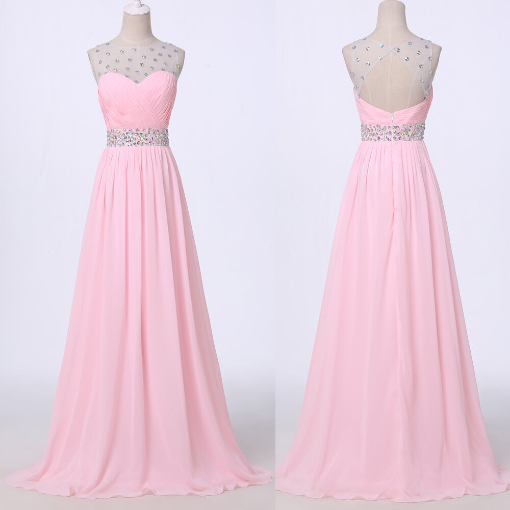 Luxury pink long xmas evening ball gowns bridesmaid for Ebay wedding bridesmaid dresses