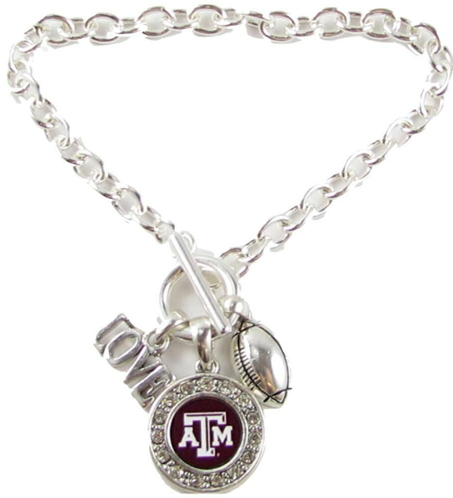 texas a m aggies multi charm love football maroon silver