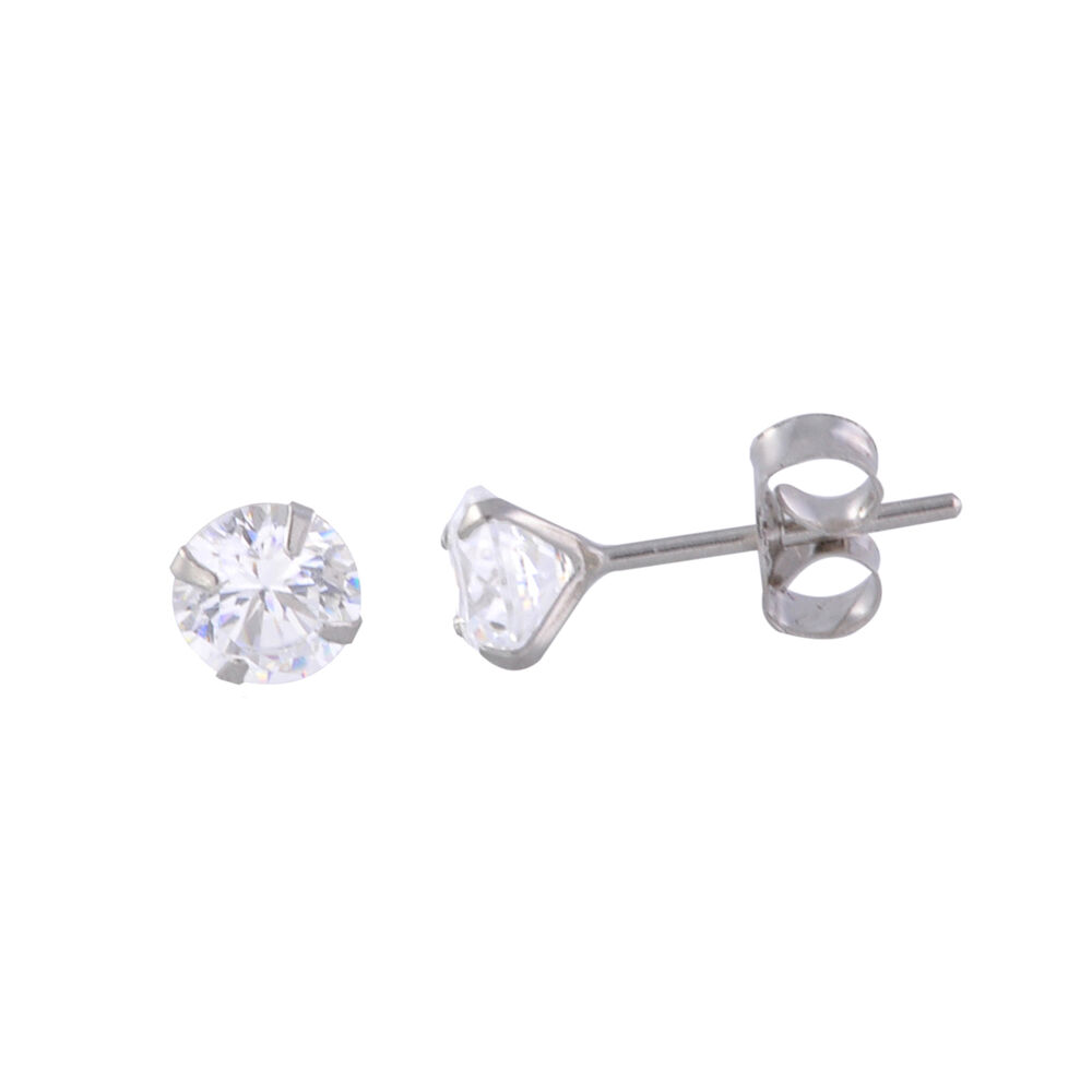 14k white gold stud earrings round clear cz prong setting. Black Bedroom Furniture Sets. Home Design Ideas