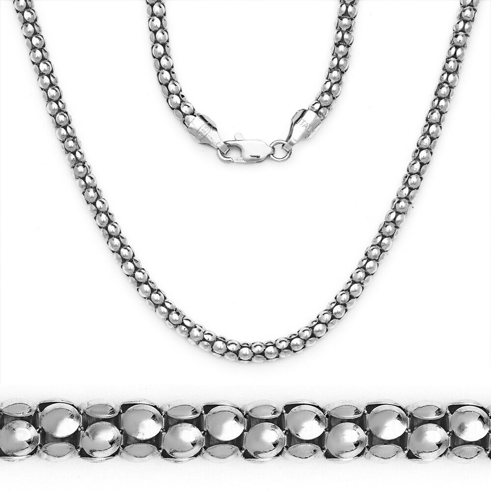 White Gold Chain Bracelet: 3.2mm Popcorn Italian Link Chain Necklace 14k White Gold