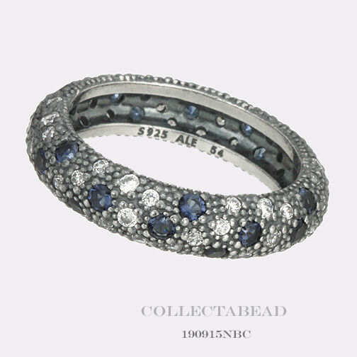Authentic Pandora Silver Cz Cosmic Stars Midnight Blue
