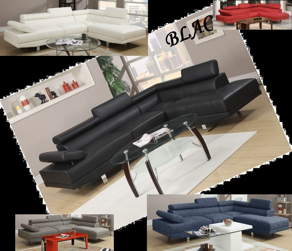 Living Room Furniture Sets Black: Modern Contemporary Black White Leather Sectional Sofa