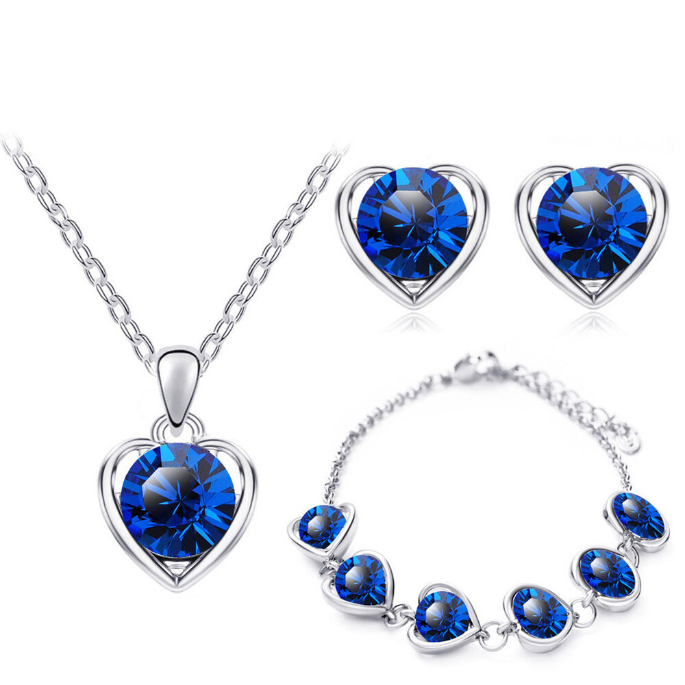 bracelet and earrings sets blue silver hearts jewellery set stud earrings 6854