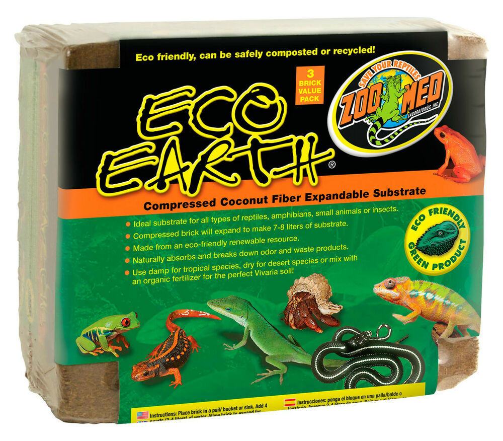 Zoo Med Eco Earth Reptile Substrate 3 Bricks Per Pack