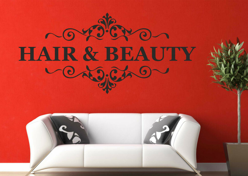 Hair beauty wall art quote sticker nail beauty salon for Stickers salon