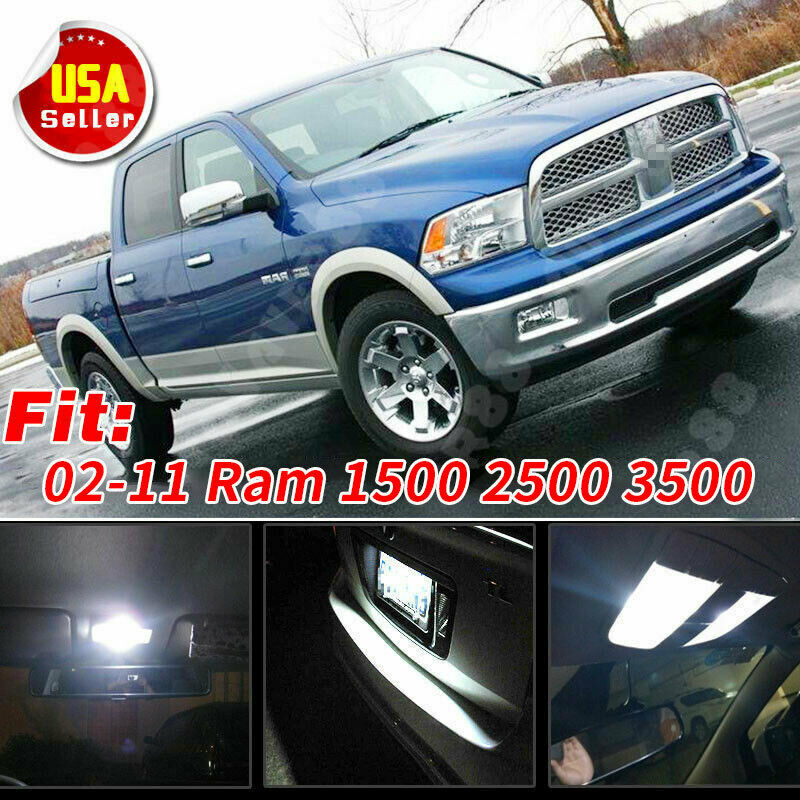 12 Pure White Led Lights Interior Package Kit For 02 11 Dodge Ram 1500 2500 3500 Ebay