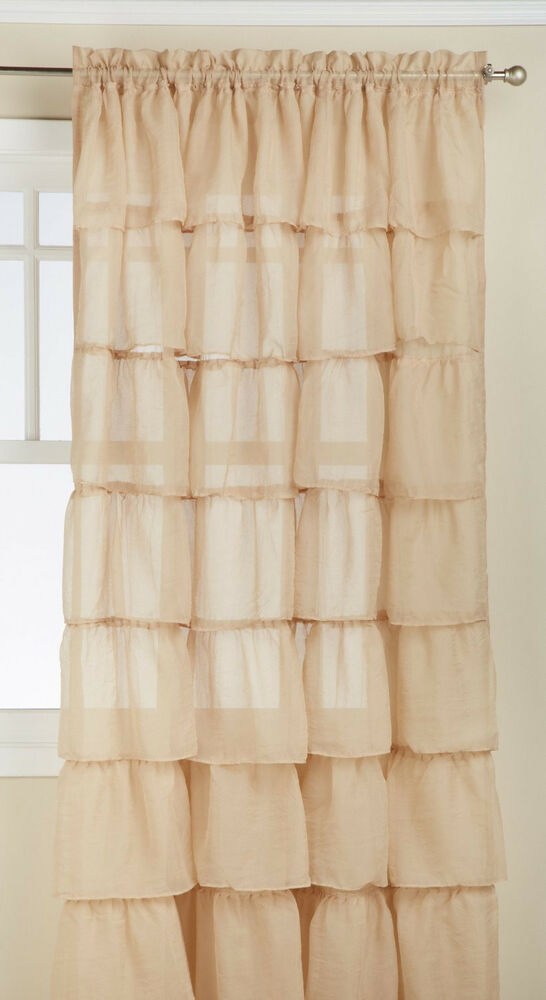 Two 2 Gypsy Ruffled Sheer Curtain Panels Sand 60 Quot Wide