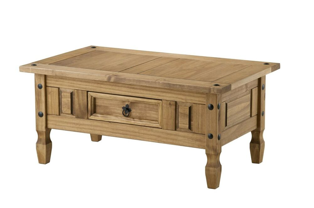 Corona coffee table with drawer mexican pine solid wood furniture waxed ebay Pine coffee table with drawers