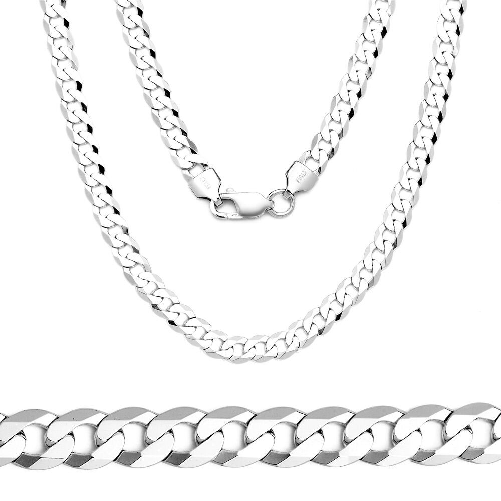 4 5mm Solid 925 Sterling Silver Cuban Curb Link Italy