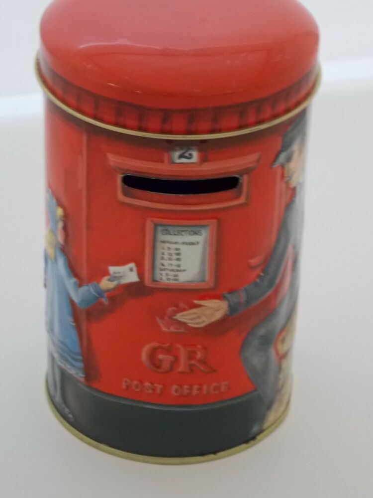 Vintage coin bank churchills heritage of england post box for How to open a tin piggy bank