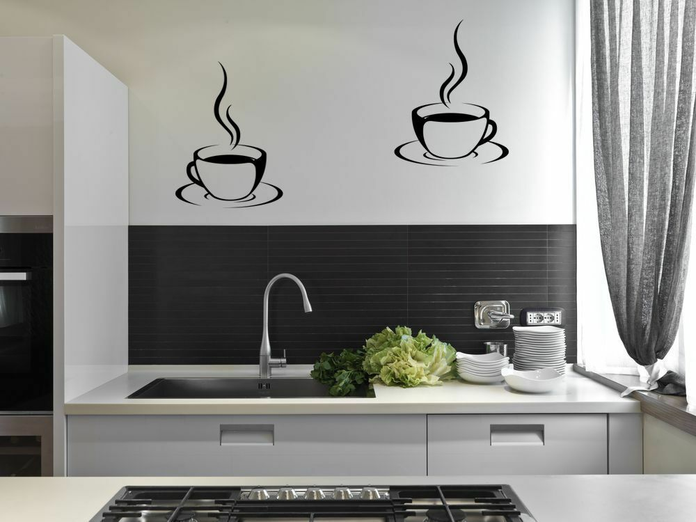 2 coffee cups kitchen wall stickers cafe vinyl art decals diy ebay. Black Bedroom Furniture Sets. Home Design Ideas