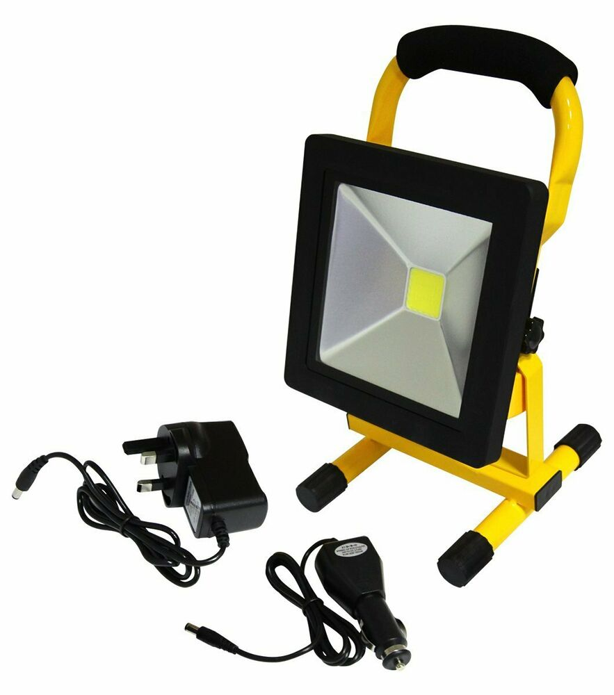 20w portable led work light cordless rechargeable 12v led 6000k cool white ebay. Black Bedroom Furniture Sets. Home Design Ideas