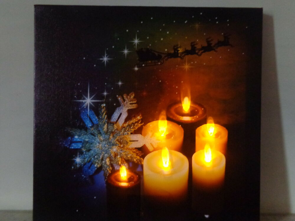 Led Christmas Wall Lights : Stunning LED Wall Canvas/Flickering Candles/Christmas Sleigh/Reindeer Lights eBay