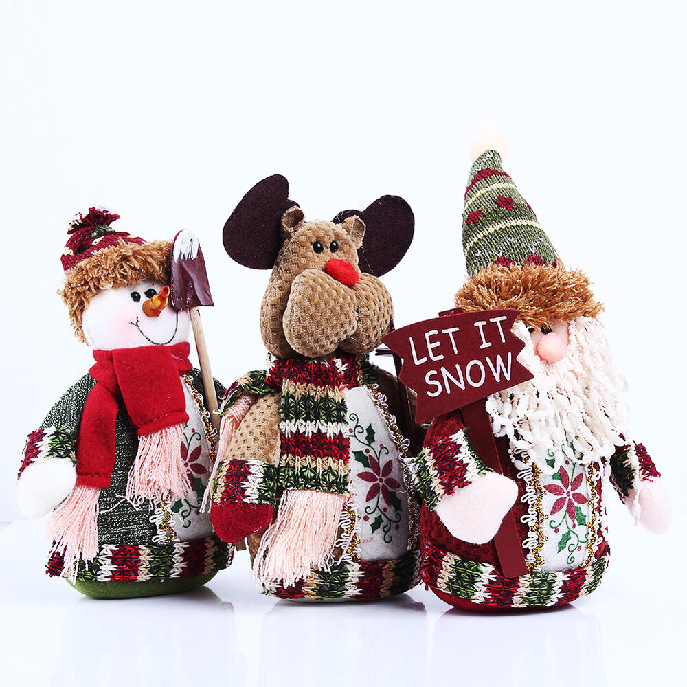 New santa claus snowman deer table ornament indoor for Pictures of indoor christmas decorations