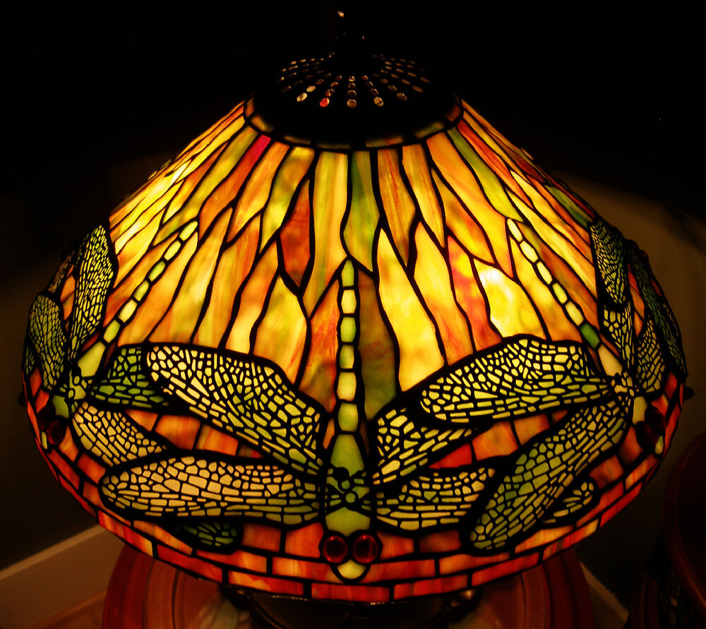 reproduction stained glass lamp shade dragonfly 16 golds ebay. Black Bedroom Furniture Sets. Home Design Ideas