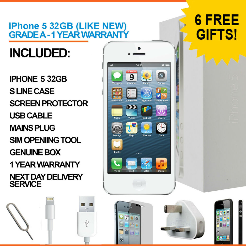 apple iphone 5 32gb white unlocked refurbished grade a. Black Bedroom Furniture Sets. Home Design Ideas