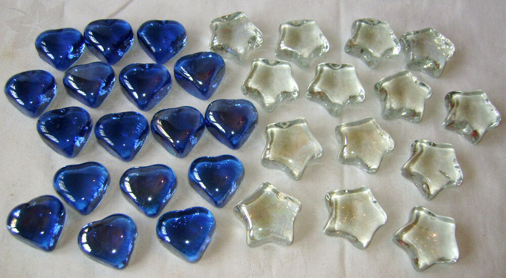 New decorative glass stones shapes clear stars blue hearts for Colored stones for crafts