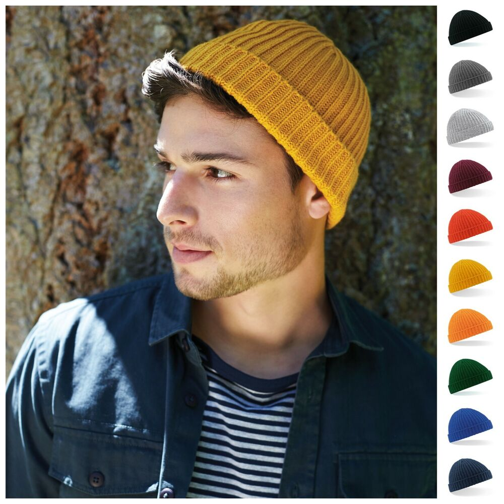 Fisherman Beanie Ribbed Hat Winter Warm Turn Up Retro Mens