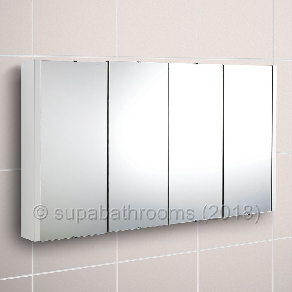 Lux 1200mm Gloss White 4 Door Mirror Bathroom Cabinet Wall Mounted