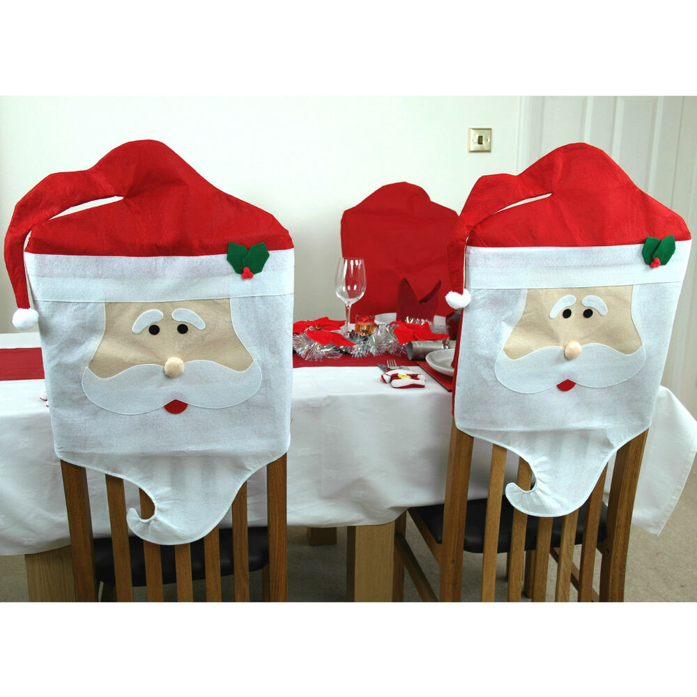 2 X Santa Dining Chair Covers Father Christmas Decorations
