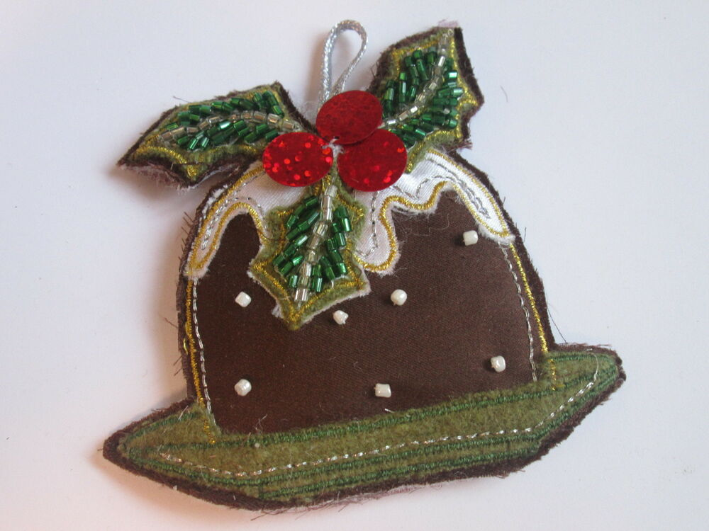 Christmas Pudding Hanging Decoration Bauble Embroidered