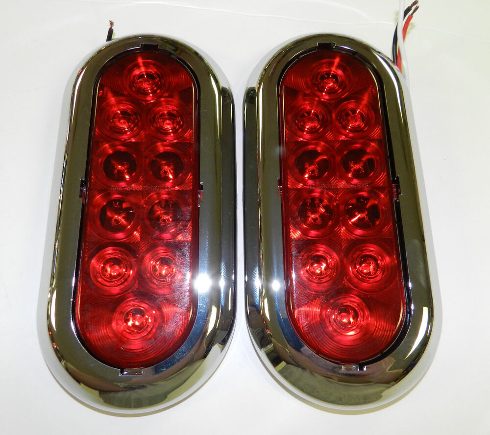 2 6 chrome trailer truck red led surface mount oval. Black Bedroom Furniture Sets. Home Design Ideas