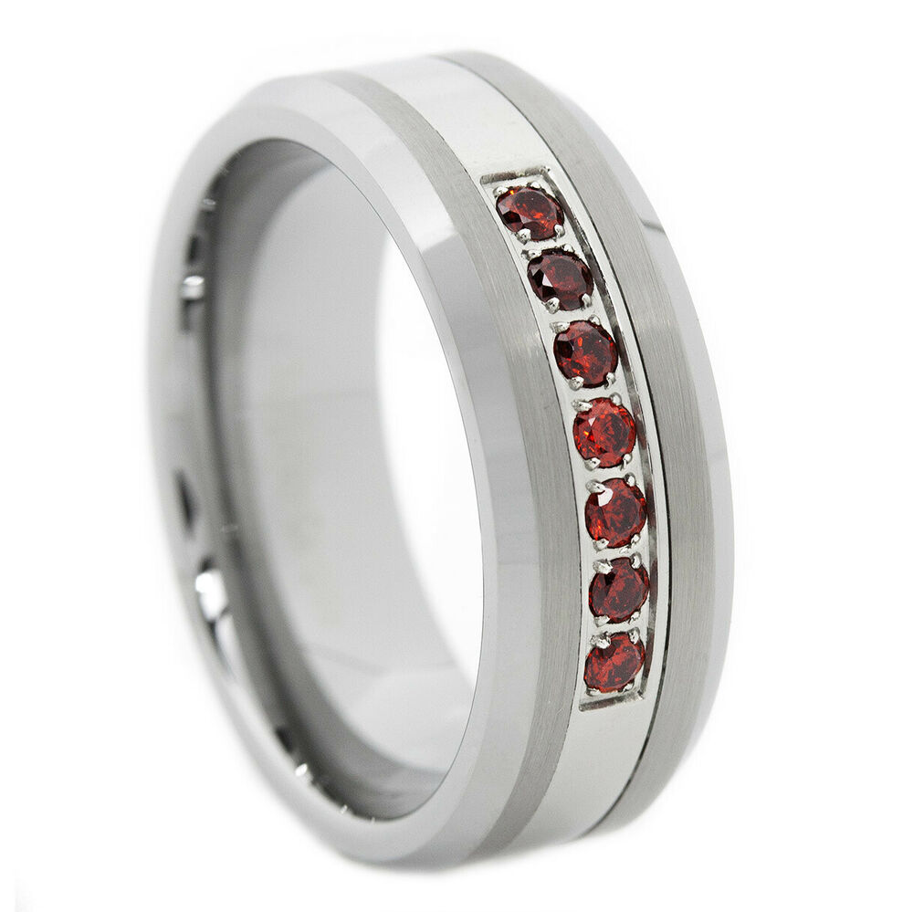 Garnet Ring Bands: Thin Red Line Tungsten Carbide Mens 7 Stone Ruby Garnet CZ