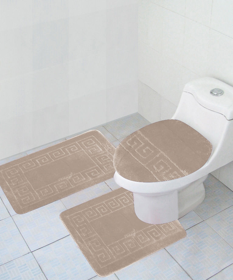 3 Piece BATHROOM Rug Set Large Bath Rugs Contour Anti Slip Mat Lid Cover Beig