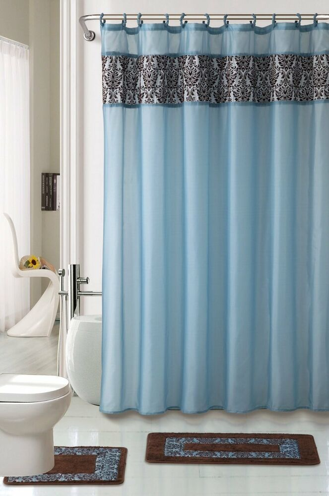 4pc bathroom rugs set majestic blue bath rug fabric shower curtain and mat rings ebay. Black Bedroom Furniture Sets. Home Design Ideas