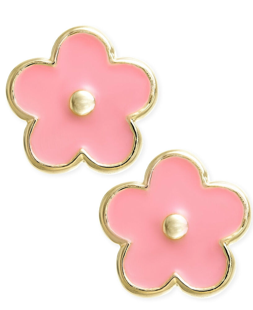 14k yellow gold pink enamel flower baby earrings with baby