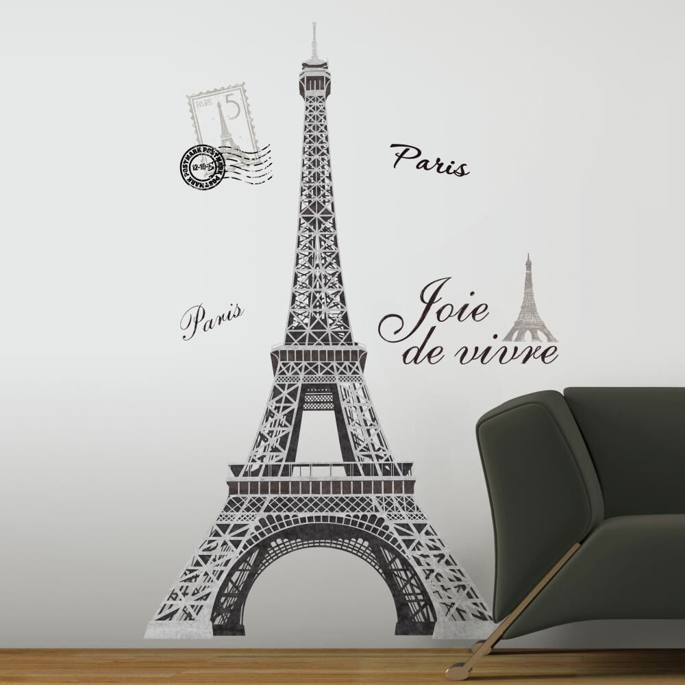 New 56 eiffel tower giant wall decals mural france paris stickers room decor ebay - Eiffel tower decor for bedroom ...