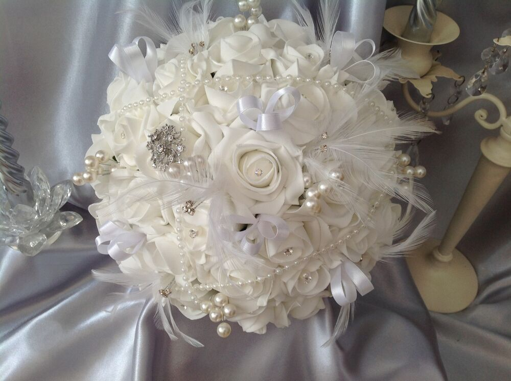 White Rose Vintage Pearl Feather Brooch Wedding Flowers