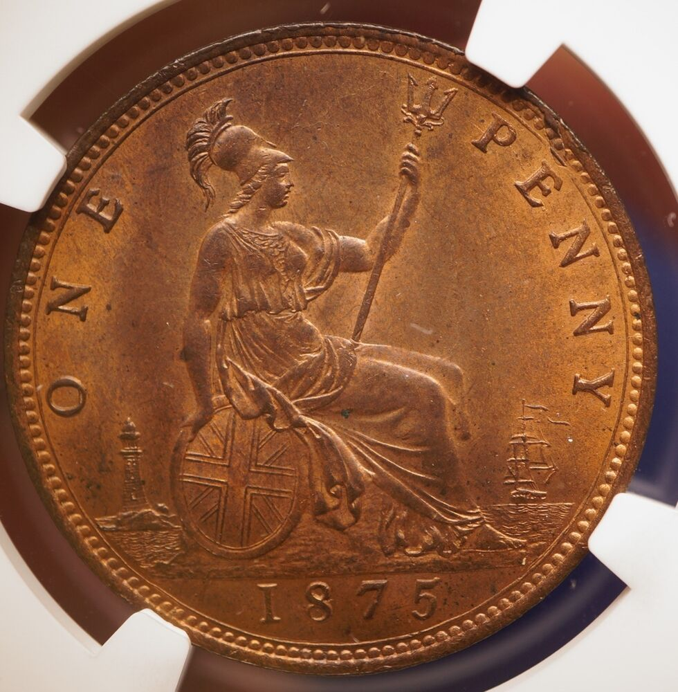 1875 Large Date Great Britain Uk 1 Penny Bronze Coin Ngc