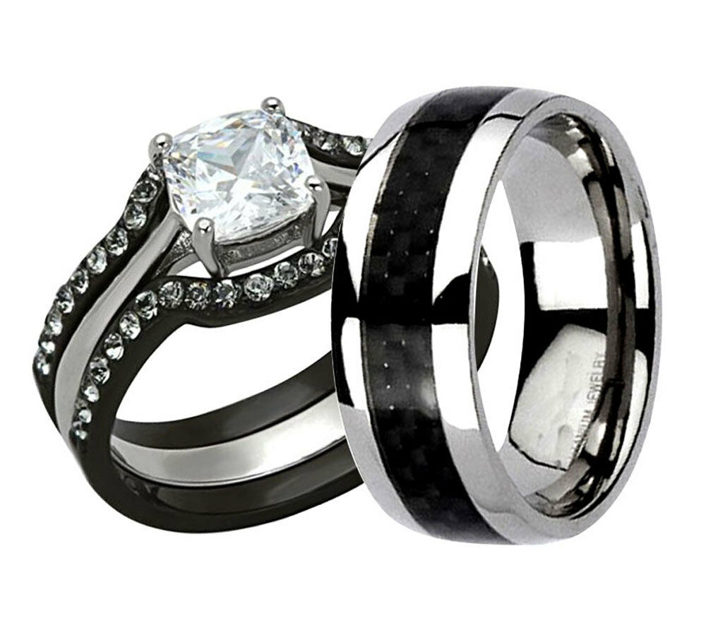 His Hers 4 Pc Black Stainless Steel Titanium Wedding Engagement Ring Band Set LV