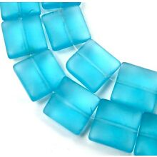 12mm Frosted Sea Glass Square Beads (13) Matte - Aquamarine