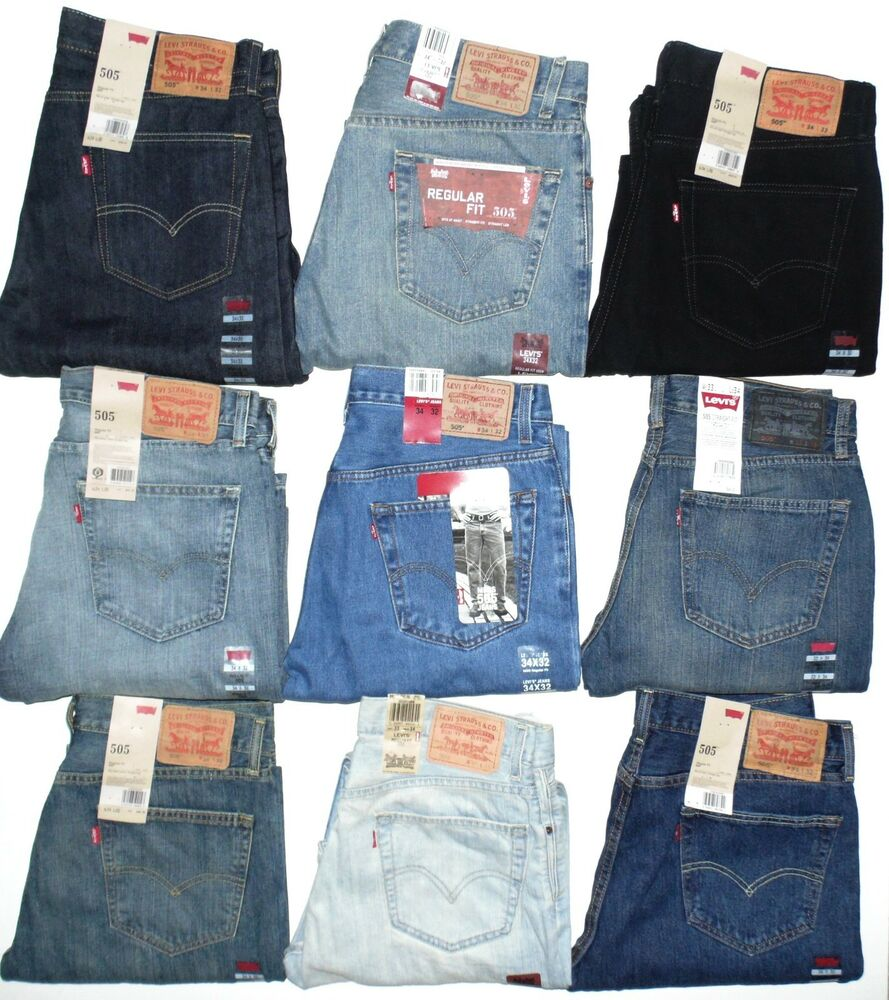 Levis 505 Mens Jeans Regular Fit Straight Leg Many Colors ...