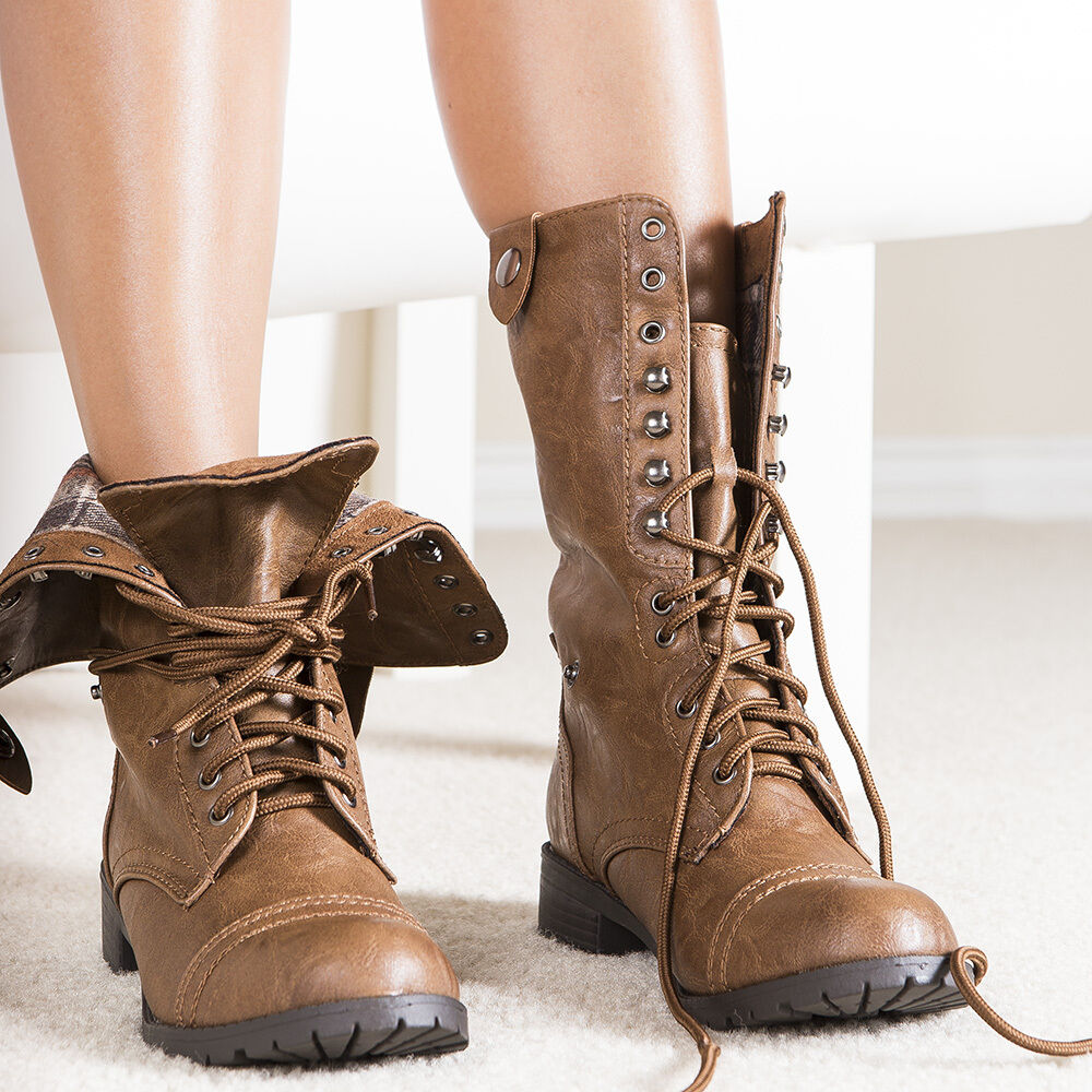Army Chic Distressed Lace-up Fold-over Combat Bike Mid-Calf Boots ...
