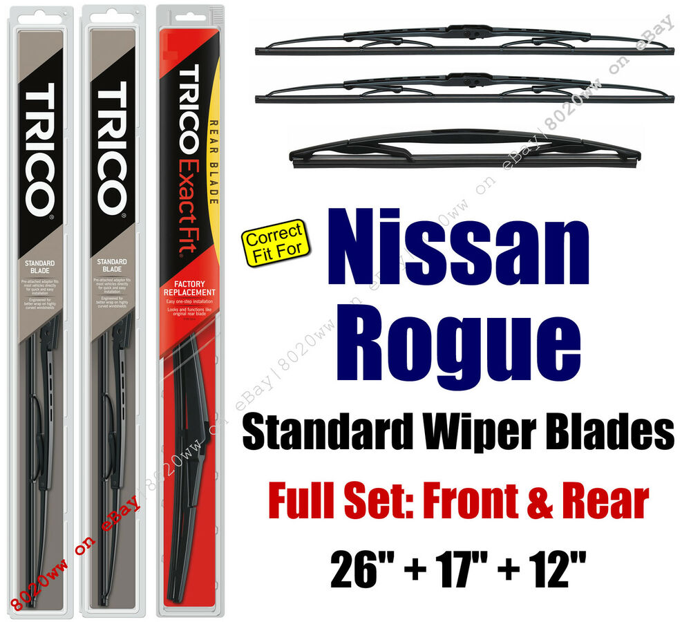 2014 Nissan Rogue Select Camshaft: Wipers 3-Pack Front & Rear Fit 2014+ Nissan Rogue & Rogue
