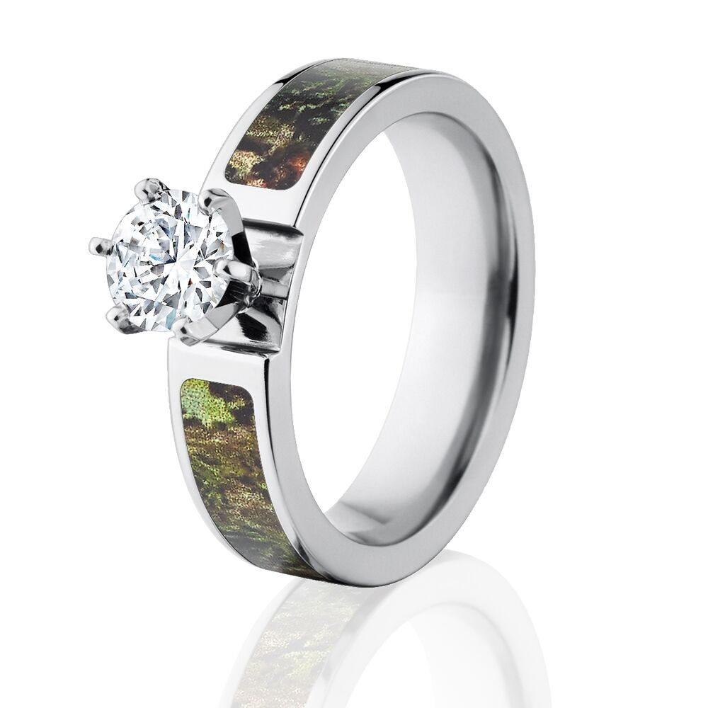 Camo rings mossy oak obsession engagement ring w 1 ct cz for Mossy oak camo wedding rings for him