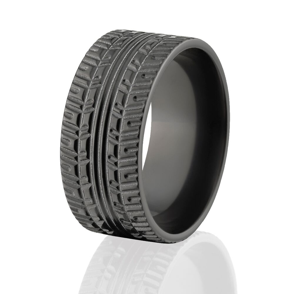Custom Black Zirconium Tire Tread Rings Rugged Men S