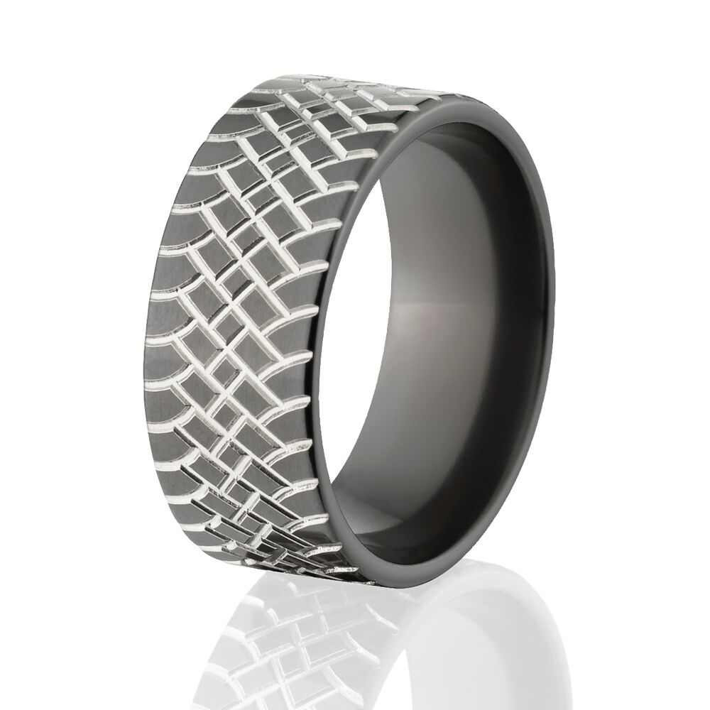 custom black zirconium tire tread rings two tone color