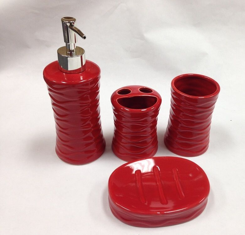4 pc red ceramic bath accessory set soap pump dish for Ceramic bath accessories sets