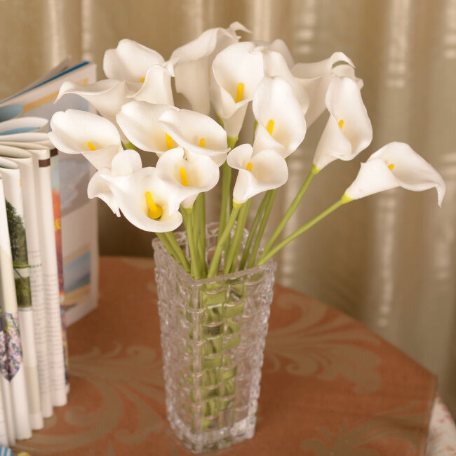 White artificial fake silk flower calla lily bridal for Artificial flower decoration mandap